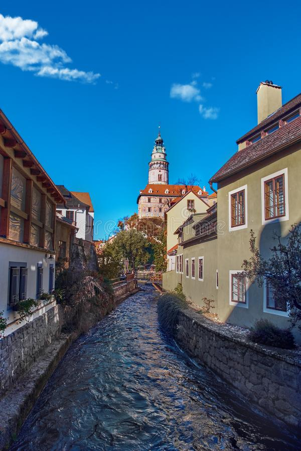 Beautiful sunset over historic centre of Chesky Krumlov old town in the South Bohemian Region of the Czech Republic. On Vltava River. UNESCO World Heritage Site royalty free stock photos