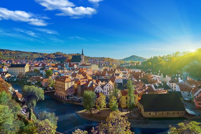 Beautiful sunset over historic centre of Chesky Krumlov old town in the South Bohemian Region of the Czech Republic on. Vltava River. UNESCO World Heritage Site stock images