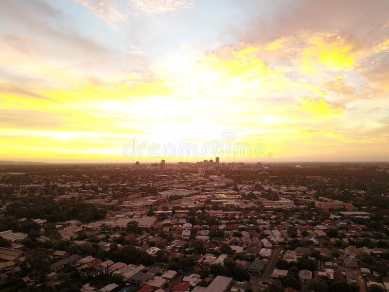 City Sunset from the air royalty free stock photography