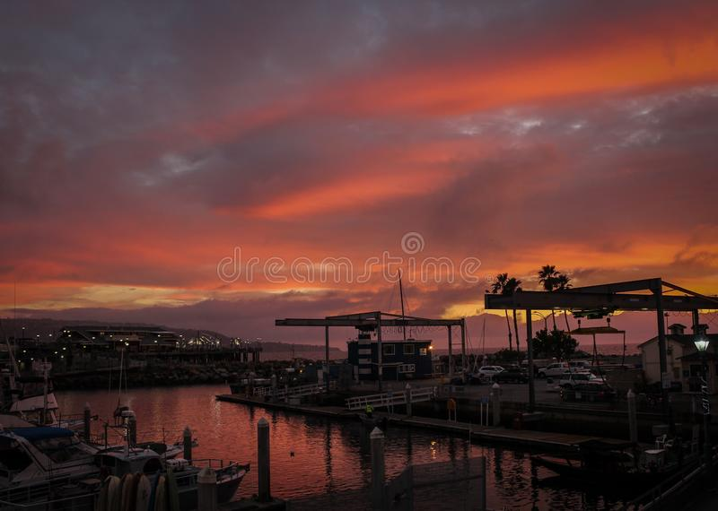 Beautiful Sunset Over King Harbor in Redondo Beach, Los Angeles County, California royalty free stock images