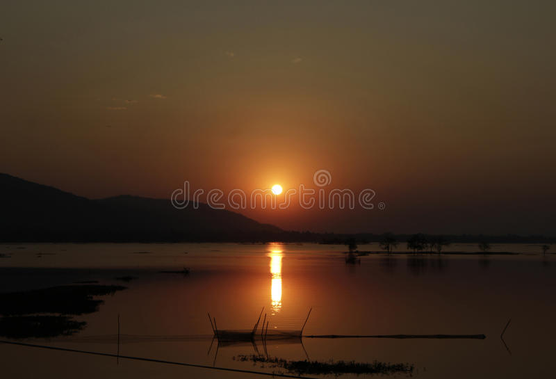 Beautiful sunset over the lake royalty free stock images