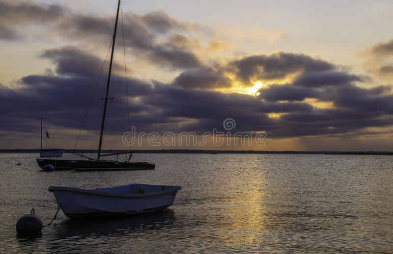 Summer sunset over Jersey Shore. Beautiful sunset over Lavallette, New Jersey featuring dramatic sky on the background and Lavallette bay on the foreground royalty free stock photos