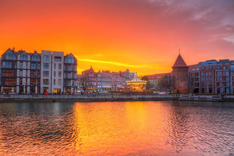 Beautiful sunset over Motlawa river in Gdansk, Poland. Old, town, pirate, city, water, europe, travel, architecture, building, sail, tourism, landmark royalty free stock image