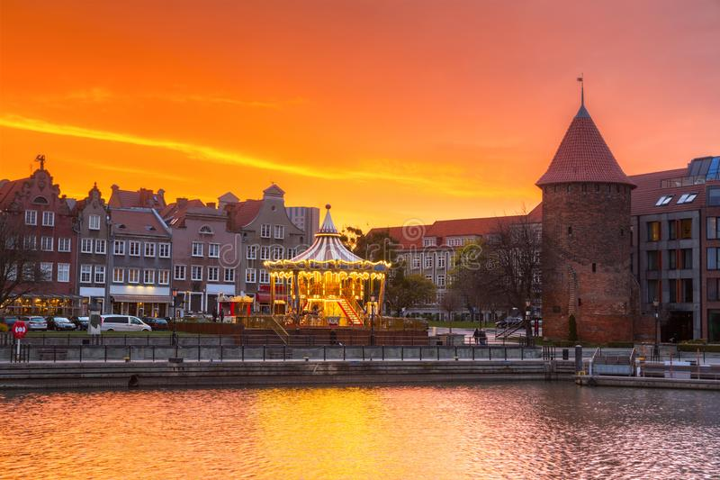 Beautiful sunset over Motlawa river in Gdansk, Poland. Old, town, pirate, city, water, europe, travel, architecture, building, sail, tourism, landmark royalty free stock photography