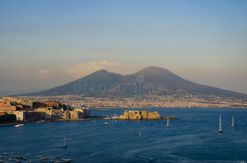 Beautiful sunset over the Naples in Italy on Mount Vesuvius background from Posillipo hill. Summer trip to Europe stock photography