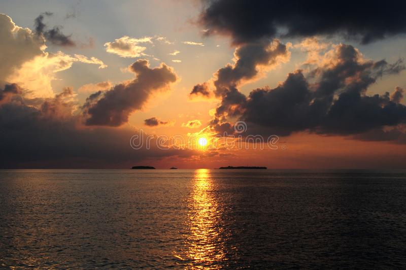 Beautiful Sunset Over The Ocean stock photography