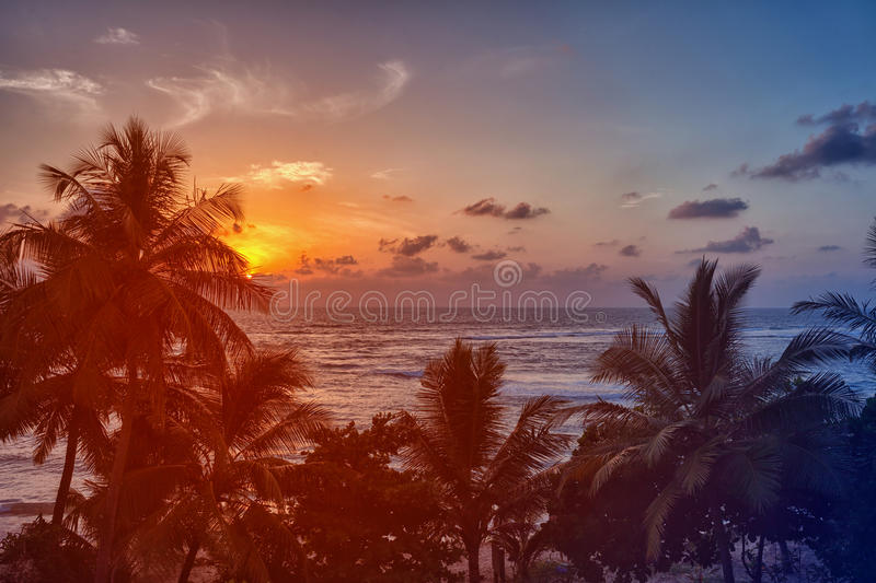 Beautiful sunset over the ocean stock photo
