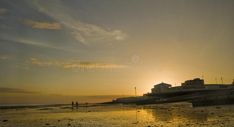 Beautiful Sunset Over Pier At Low Tide Royalty Free Stock Photo