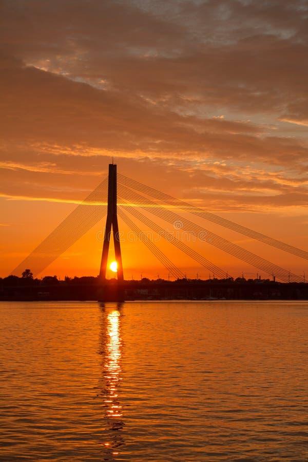 Beautiful sunset over the river Daugava.  stock photography