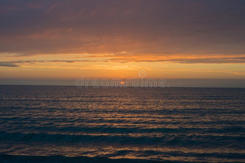 Beautiful sunset over the sea.  Anapa, Krasnodar region, Russia stock photo