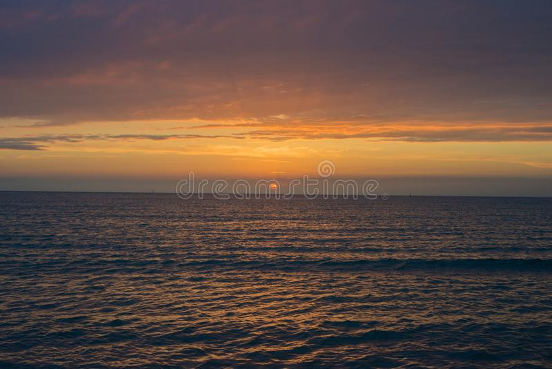 Beautiful sunset over the sea.  Anapa, Krasnodar region, Russia stock photography