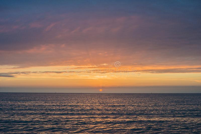 Beautiful sunset over the sea.  Anapa, Krasnodar region, Russia stock image