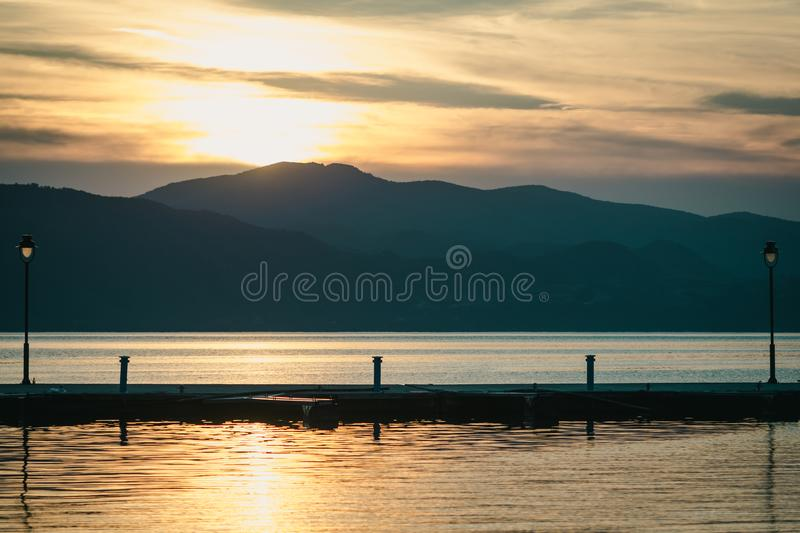 Beautiful sunset over sea - beautiful view royalty free stock image