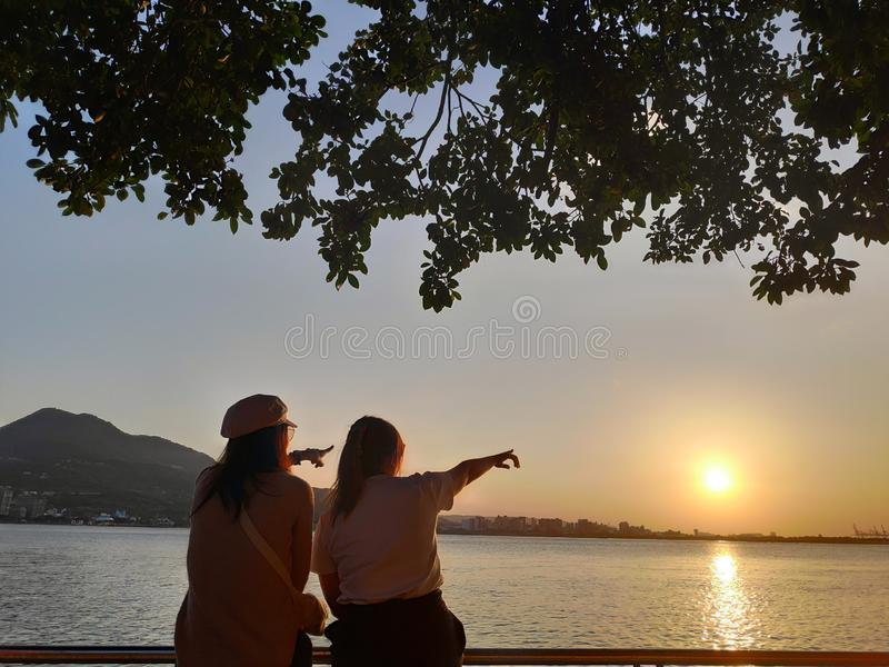 Beautiful sunset over the Tamsui River, Tamsui, Taiwan royalty free stock image