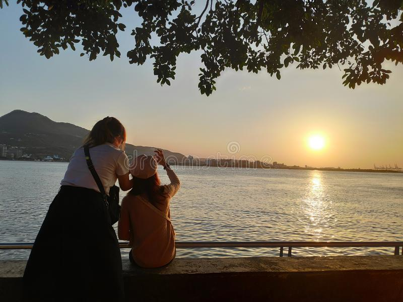 Beautiful sunset over the Tamsui River, Tamsui, Taiwan royalty free stock photography