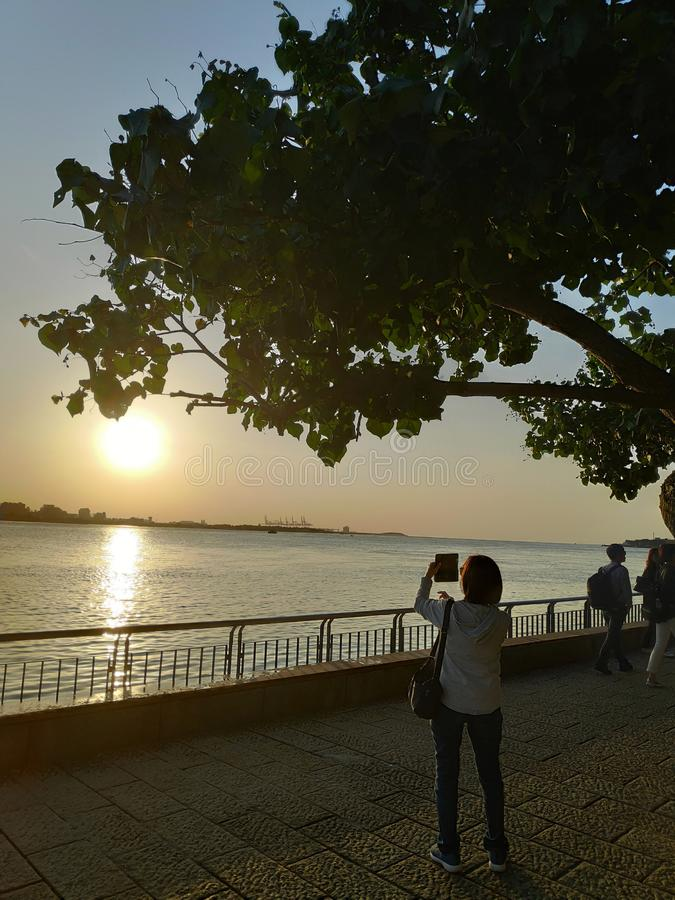 Beautiful sunset over the Tamsui River, Tamsui, Taiwan stock images