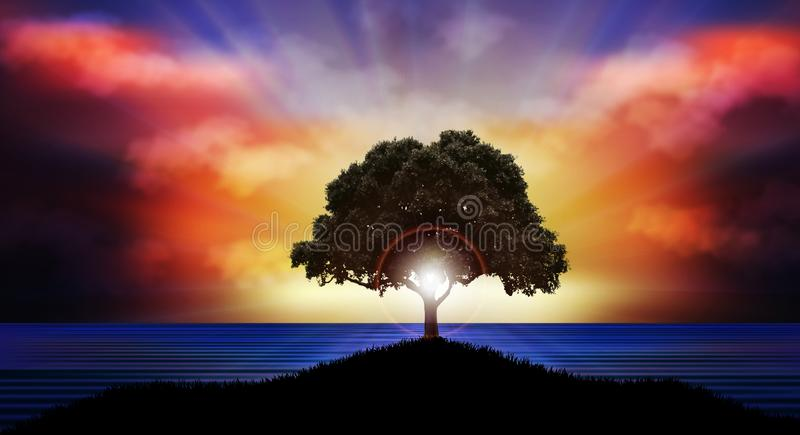 Beautiful Sunset over water tree silhouette nature landscape vector illustration