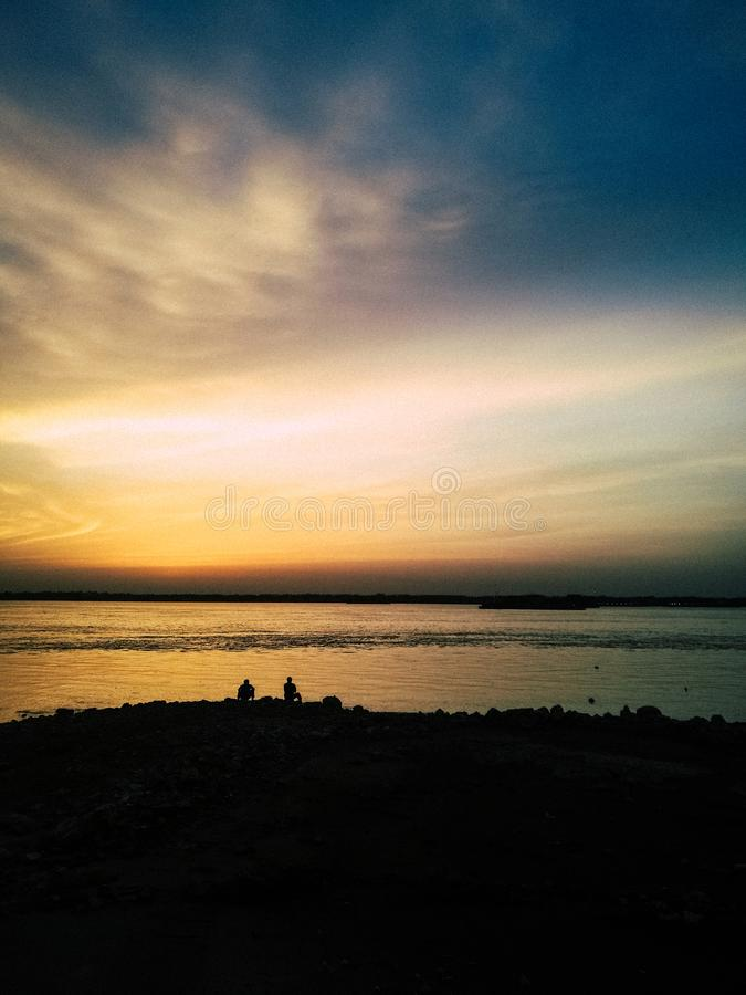 Beautiful Sunset over the Yangtze River. The Yangtze River, or Chang Jiang, is the longest river in China and Asia, and the third-longest in the world, after the royalty free stock image