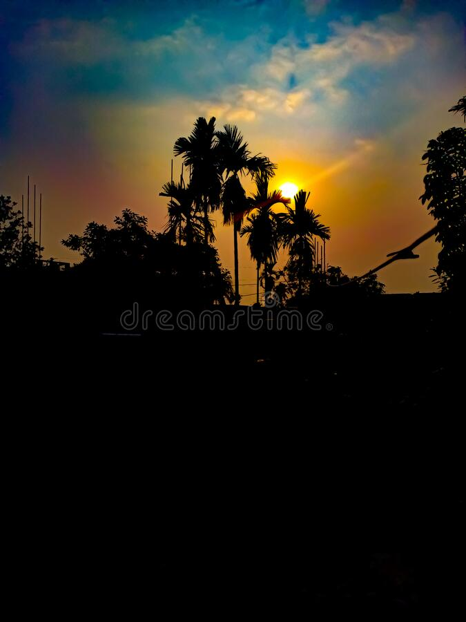 A beautiful sunset photography using mobile nokia six-point one plus royalty free stock photography