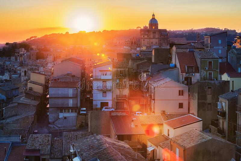 Beautiful sunset in Piazza Armerina Cathedral old town Sicily. Beautiful sunset in Piazza Armerina old town, Sicily, Italy. View on Cathedral stock image