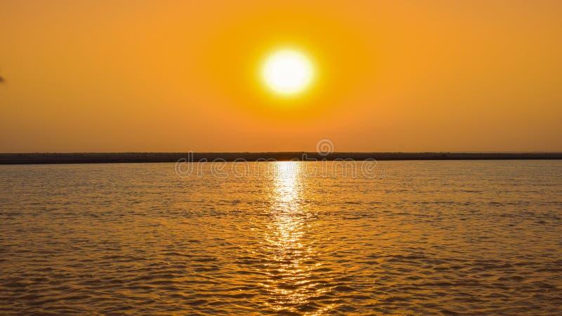 Beautiful sunset on river indus pakistan royalty free stock image