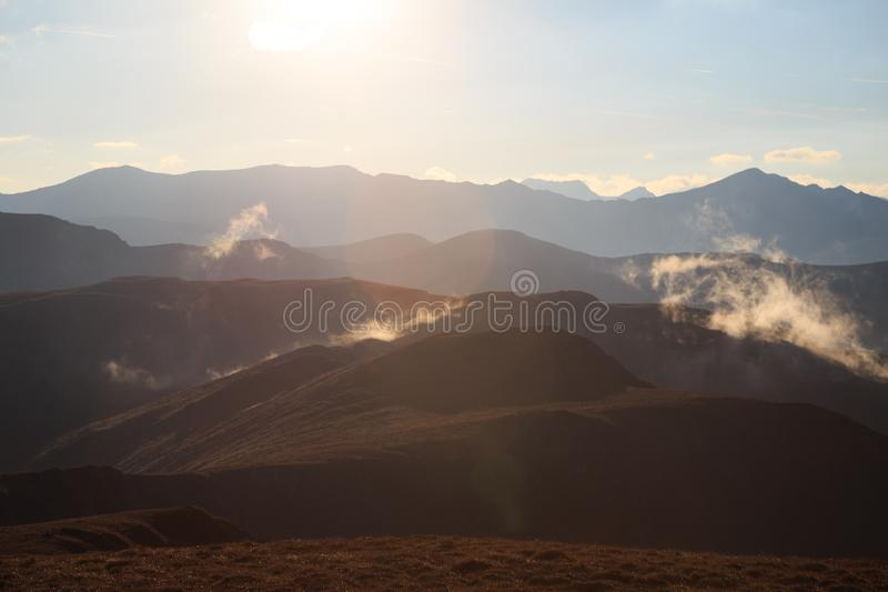 Beautiful sunset in the Romanian Carpathian mountains. In this photo you can see beautiful sunset in the Romanian Carpathian mountains stock photo