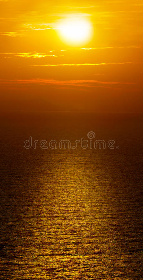 Beautiful sunset on Santorini stock images