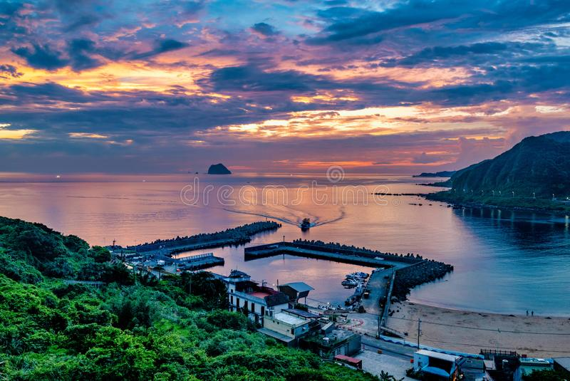 Beautiful Sunset scenery in coastal of Keelung,Taiwan royalty free stock image