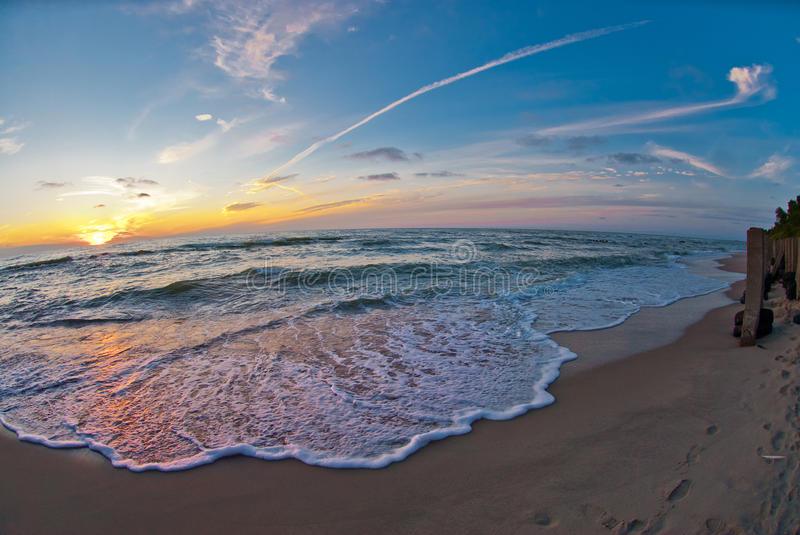 Beautiful sunset at the sea stock images