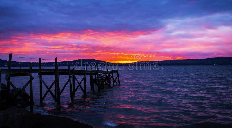 Beautiful sunset and sea from long exposure. At the Holywood harbour, Northern Ireland stock photos