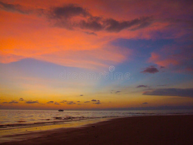 Beautiful sunset on the sea royalty free stock photography