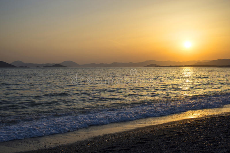 Beautiful sunset at Sea. In Turkey royalty free stock images
