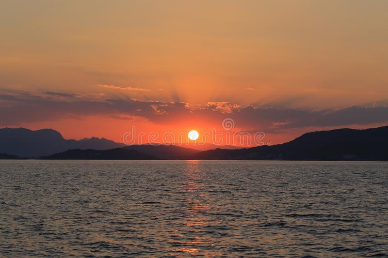 Beautiful sunset and sea view royalty free stock photo