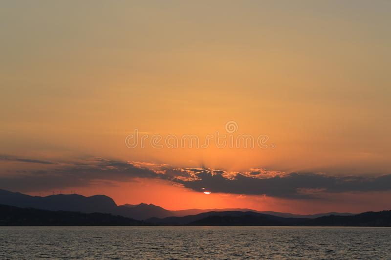 Beautiful sunset and sea view royalty free stock photography