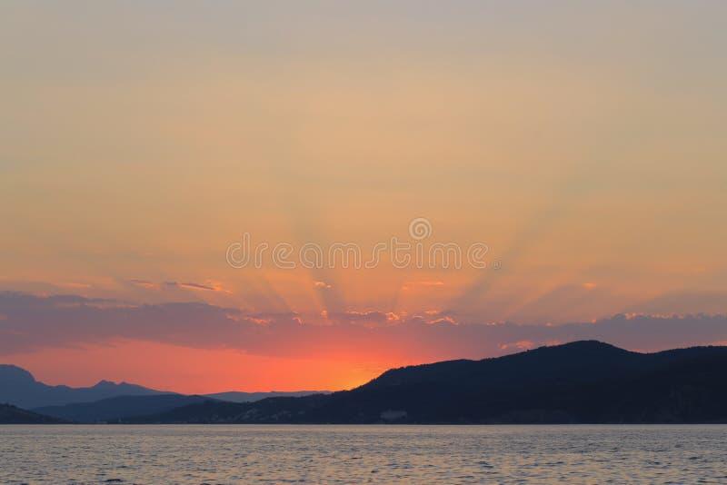 Beautiful sunset and sea view stock photos