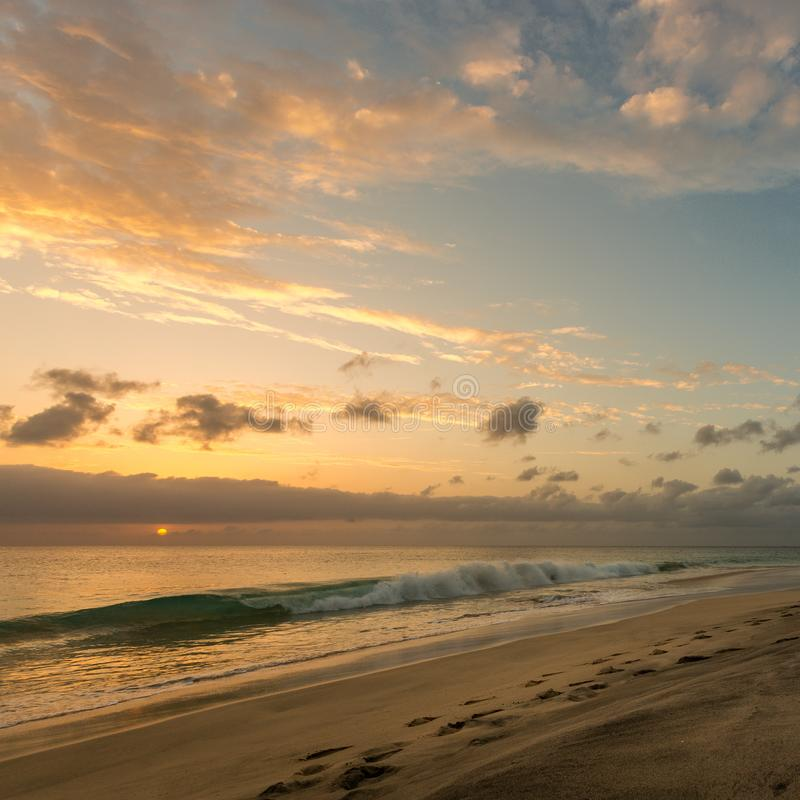 Beautiful sunset at seascape, Cape Verde, Cabo Verde. Beautiful sunset at seascape in Sal island, Cape Verde, Cabo Verde royalty free stock photography