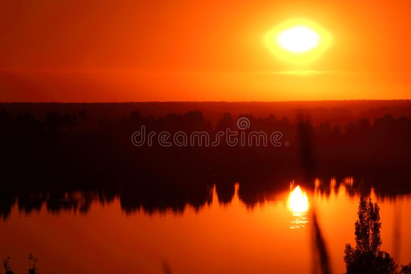 Beautiful sunset on the shore royalty free stock images