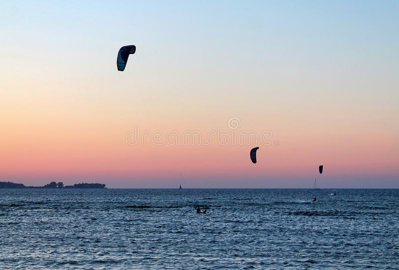 Beautiful sunset shots taken at the beach of Laboe in Germany on s sunny summer day stock images