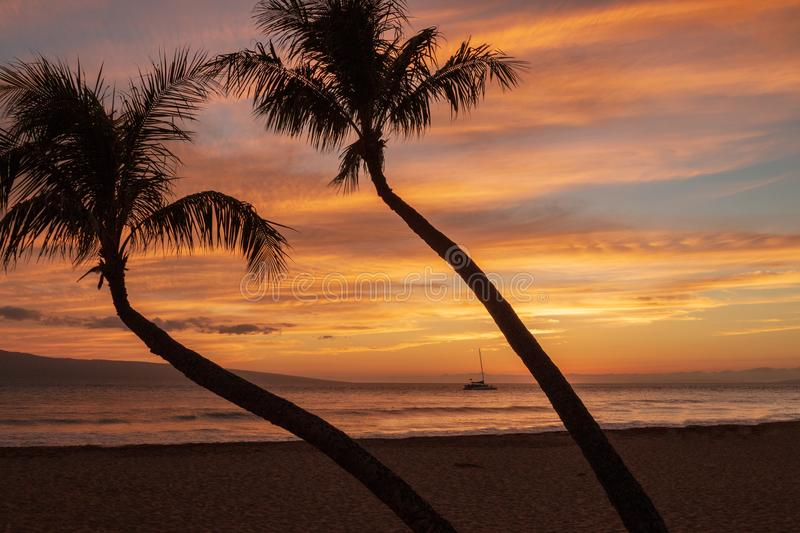 Beautiful Kaanapali Beach Maui Sunset royalty free stock images