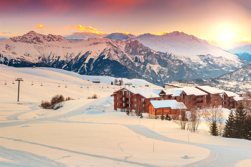 Beautiful sunset and ski resort in the French Alps,Europe royalty free stock image