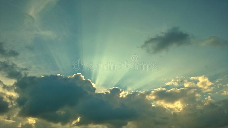 Beautiful sunset sky above clouds with dramatic, for texture and background. stock image