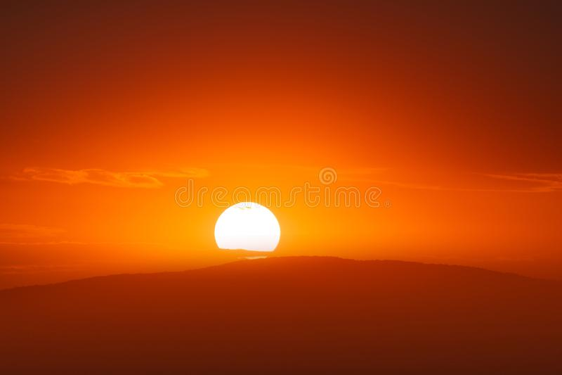 Beautiful sunset sky above clouds with dramatic light.  stock photography
