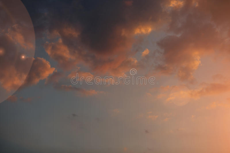 Beautiful sunset sky with bright transitions in color. Beautiful realistic sunset sky with bright transitions in color, splendid screensaver. Sunlight stock photos