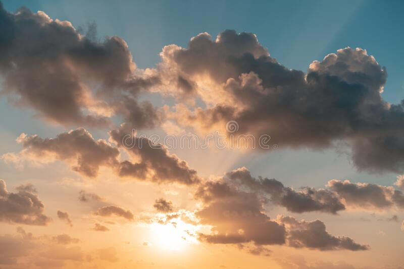 Beautiful sunset, sky and clouds, retro film filtered. Natural abstract background and texture.  stock images