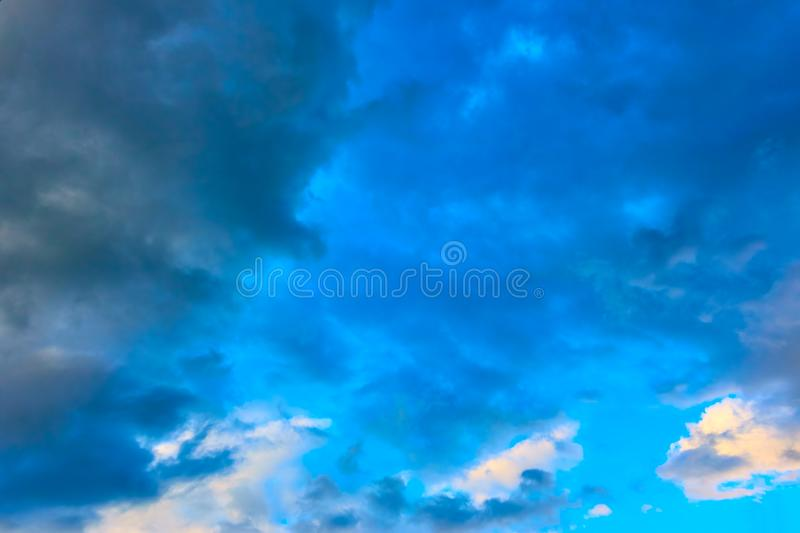 Beautiful sunset sky. With colorful clouds - Background stock image