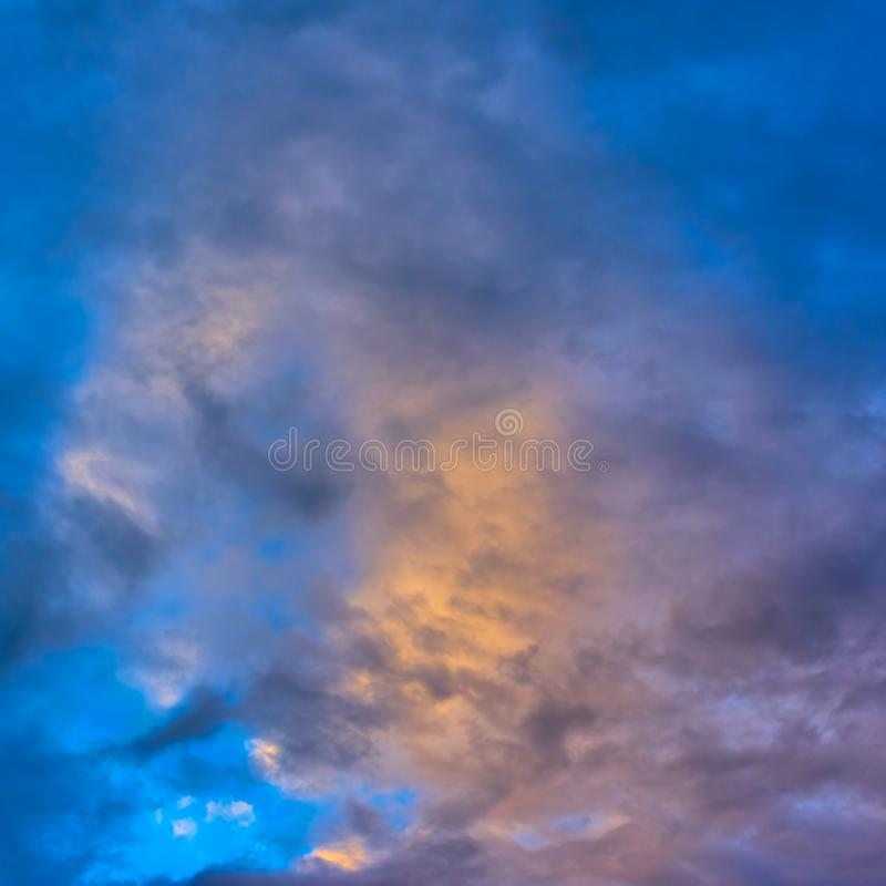 Beautiful sunset sky. With colorful clouds - Background, space for text stock image