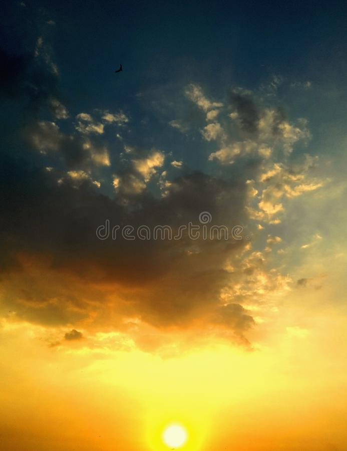 Beautiful sunset in the sky stock image