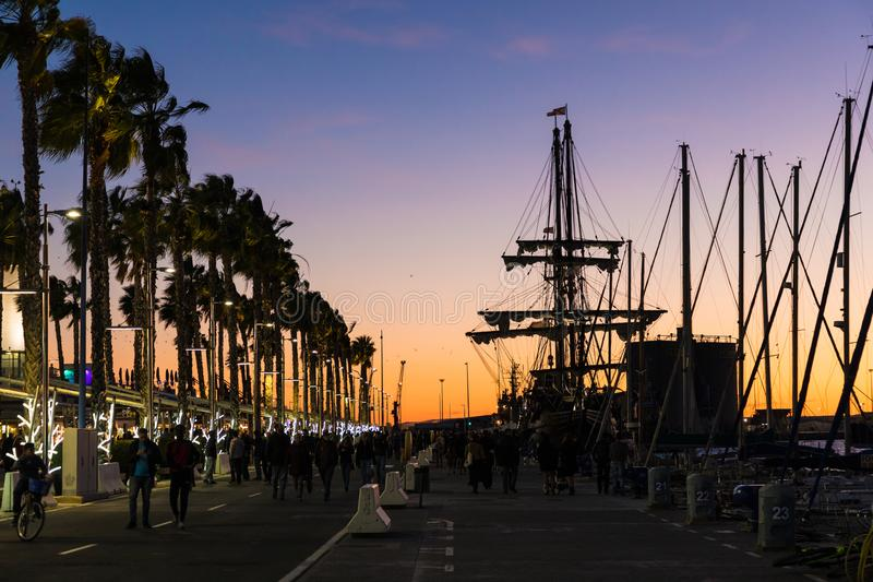 Beautiful sunset sky in the marina port in Malaga city. Andalusia, Spain. royalty free stock photography