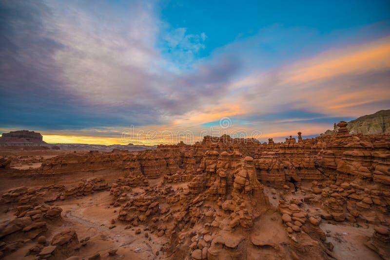 Beautiful Sunset Sky over the Goblin Valley stock photos