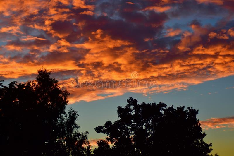 Beautiful sunset sky on a summer`s day royalty free stock images